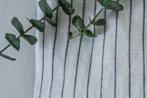 nachhaltige Mode in Form einer weißen Leinenbluse in Nahaufnahme mit Eukalyptuszweig